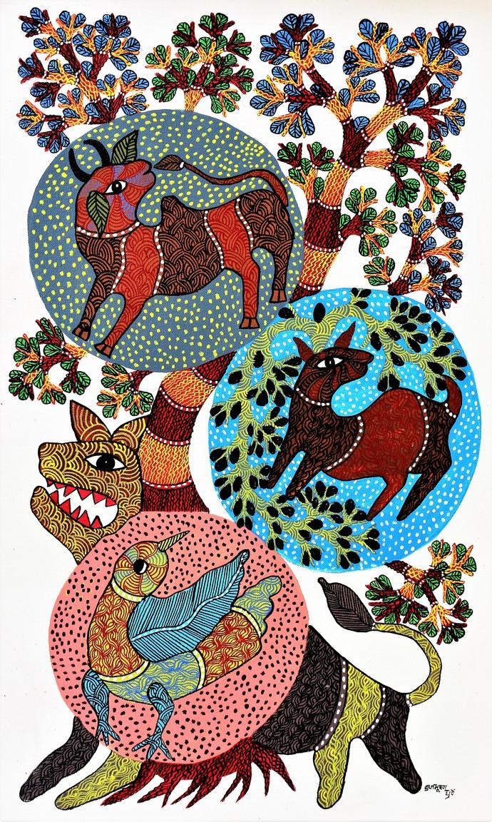 Gond Painting Of Wildlife Of Madhya Pradesh By Artist