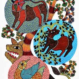 Gond painting of wildlife of madhya pradesh. by Brajbhushan Dhurve, Tribal Painting, Acrylic on Canvas, Brown color