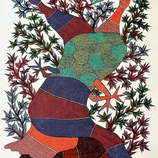 Gond painting of two love birds. by Brajbhushan Dhurve, Tribal Painting, Acrylic on Canvas, Brown color