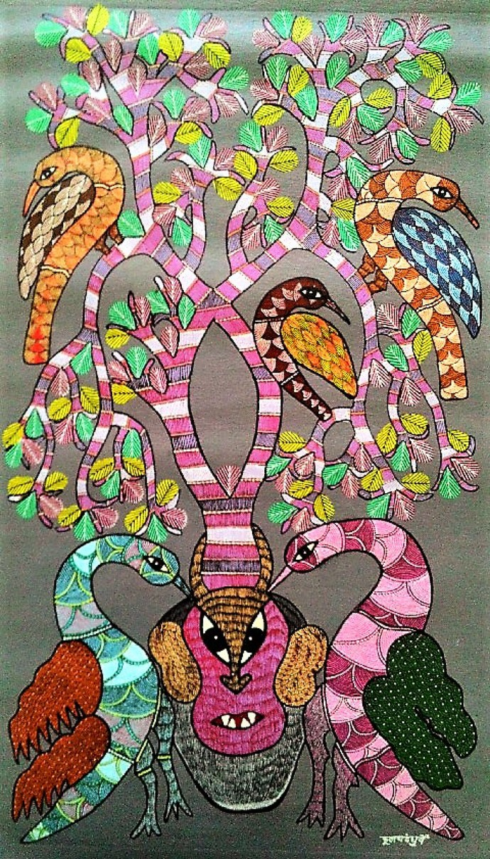 Gond painting of birds love for trees. by Brajbhushan Dhurve, Tribal Painting, Acrylic on Canvas, Brown color