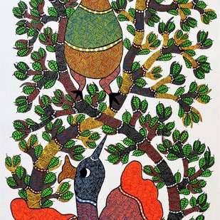 Gond painting of two birds making love. by Brajbhushan Dhurve, Tribal Painting, Acrylic on Canvas, Brown color