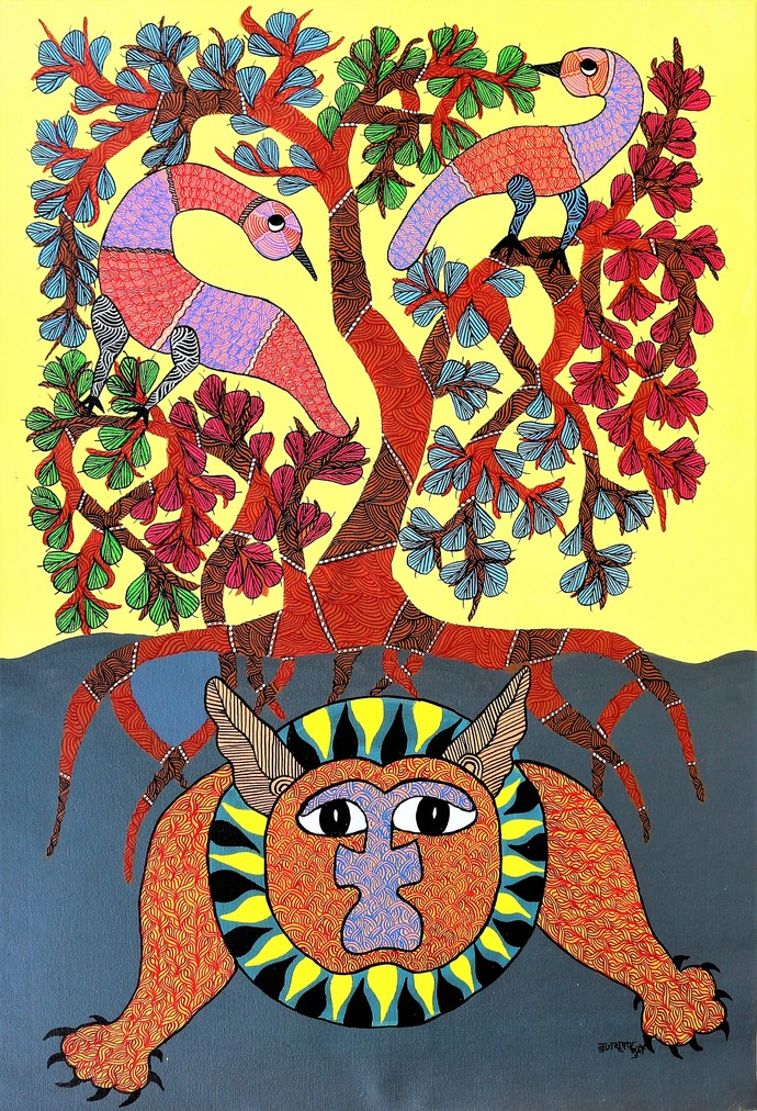 Gond painting of an upset tree due to todays polluted environment. by Brajbhushan Dhurve, Tribal Painting, Acrylic on Canvas, Brown color