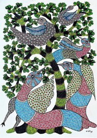 Gond painting showcasing birds and trees. by Brajbhushan Dhurve, Tribal Painting, Acrylic on Canvas, Green color