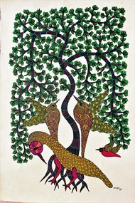 Gond painting by Brajbhushan Dhurve, Folk Painting, Acrylic on Canvas, Green color