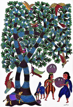 Gond painting illustrating shelter by trees by Brajbhushan Dhurve, Tribal Painting, Acrylic on Canvas, Green color