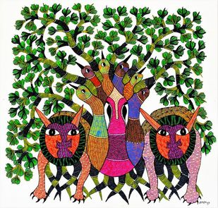 Original hand made gond painting illustrating love for trees by animals and birds by Brajbhushan Dhurve, Tribal Painting, Acrylic on Canvas, Green color