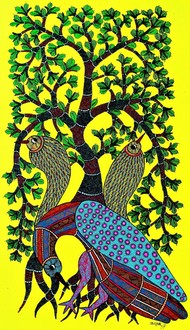 Original Gond painting showcasing birds cant live without trees. by Brajbhushan Dhurve, Tribal Painting, Acrylic on Canvas, Green color