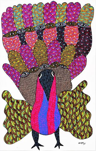Gond painting showing peacock. by Brajbhushan Dhurve, Tribal Painting, Acrylic on Canvas, Brown color