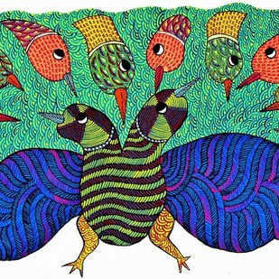Original hand made gond painting showcasing beautiful combination of colors. by Brajbhushan Dhurve, Tribal Painting, Acrylic on Canvas, Green color
