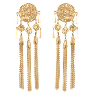 Gold Textured Earrings by Ambar Pariddi Sahai , Art Jewellery Earring
