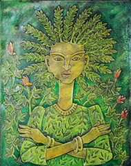 Tree of life by Dipto Narayan Chattopadhyay, Expressionism Painting, Mixed Media on Canvas, Green color