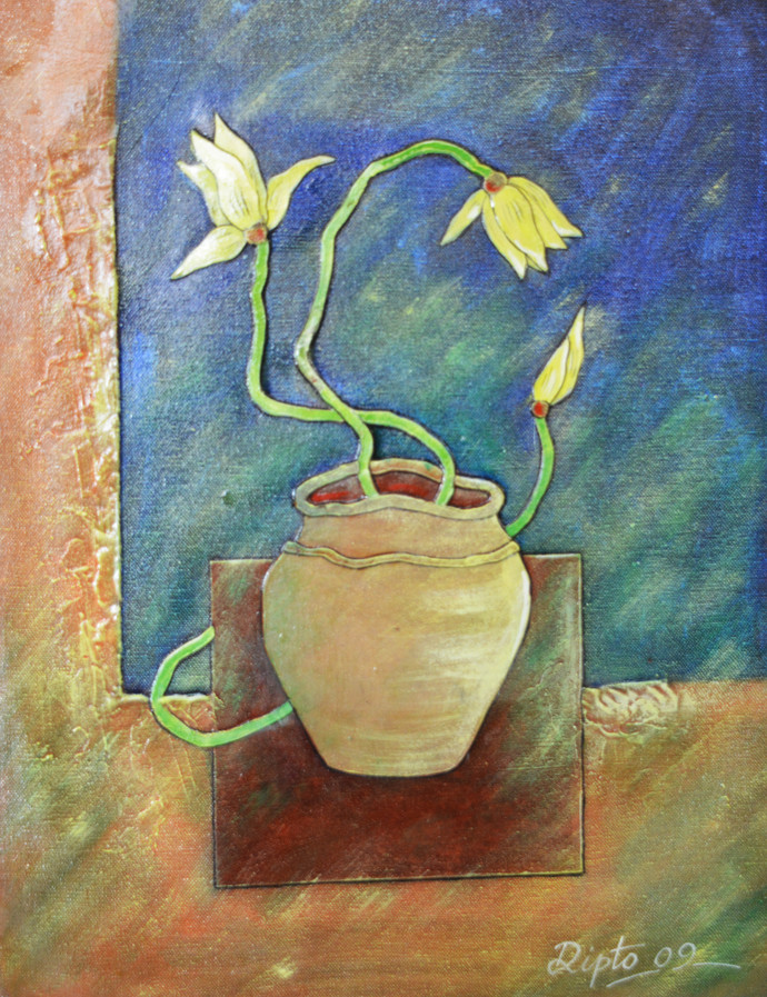 Flower vase by Dipto Narayan Chattopadhyay, Expressionism Painting, Mixed Media on Canvas, Green color