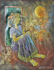 Waiting by Dipto Narayan Chattopadhyay, Expressionism Painting, Mixed Media on Canvas, Brown color
