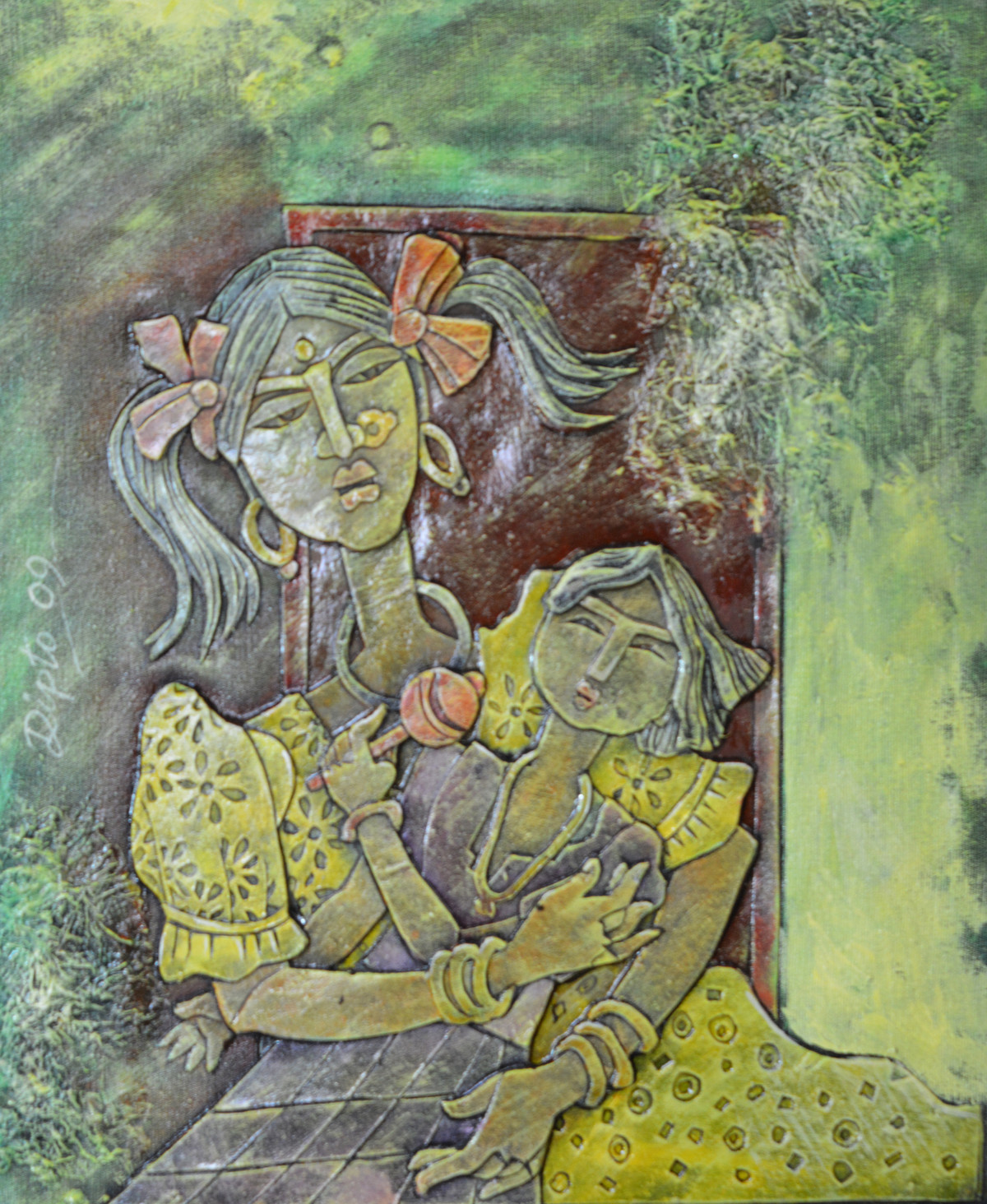 Two sisters by Dipto Narayan Chattopadhyay, Expressionism Painting, Mixed Media on Canvas, Beige color