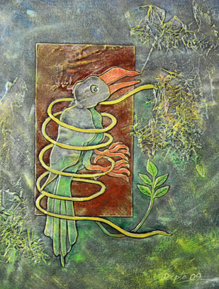 Shackle by Dipto Narayan Chattopadhyay, Expressionism Painting, Mixed Media on Canvas, Green color