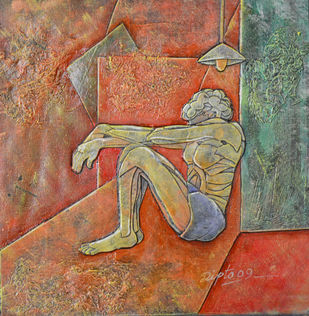 Man and light by Dipto Narayan Chattopadhyay, Expressionism Painting, Mixed Media on Canvas, Brown color