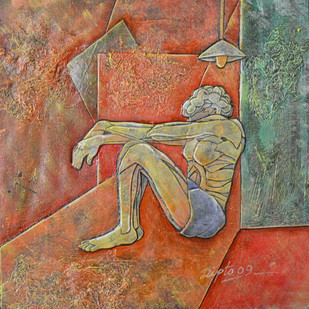 Man and light Digital Print by Dipto Narayan Chattopadhyay,Expressionism