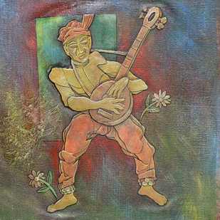 Musician Digital Print by Dipto Narayan Chattopadhyay,Expressionism