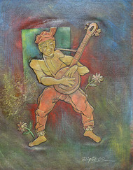 Musician by Dipto Narayan Chattopadhyay, Expressionism Painting, Mixed Media on Canvas, Brown color