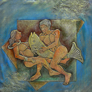 Fishing by Dipto Narayan Chattopadhyay, Expressionism Painting, Mixed Media on Canvas, Green color