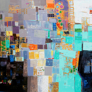 City Series -06 by S A Vimalanathan, Geometrical Painting, Acrylic on Canvas, Cyan color