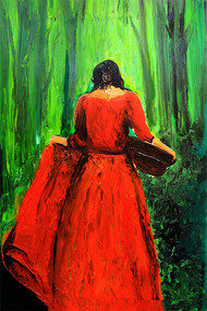 Woman in Garden by Mahesh Nandane, Expressionism Painting, Acrylic on Canvas, Green color