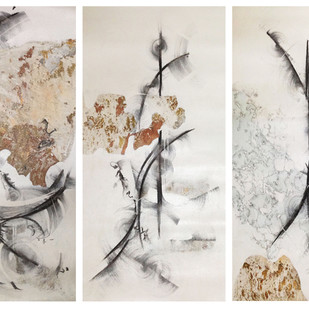 Winter 1,2,3 by Niharika Kashyap, Impressionism Painting, Mixed Media on Canvas, Gray color