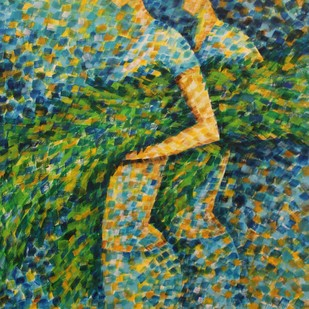 Harvesters by Sarang, Expressionism Painting, Acrylic on Canvas, Green color