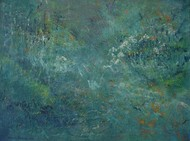 After the Rain by Mahesh Sharma, Abstract Painting, Acrylic on Canvas, Green color