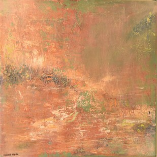 Misty Landscape by Mahesh Sharma, Abstract Painting, Acrylic on Canvas, Brown color