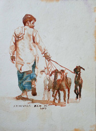 Shepherd with goats by Sreenivasa Ram Makineedi, Expressionism Painting, Watercolor on Paper, Gray color
