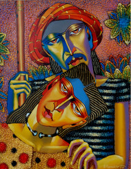 Couple by Dayanand Kamakar, Expressionism Painting, Oil & Acrylic on Canvas, Brown color