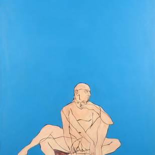 Untitled by Jaisimha, Conceptual Painting, Mixed Media on Paper, Cyan color