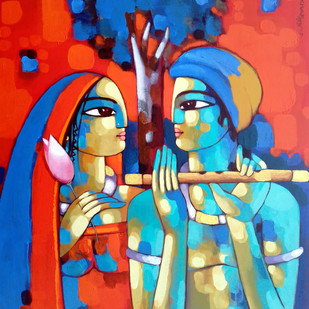 ROMANTIC COUPLE by Sekhar Roy, Decorative Painting, Acrylic on Canvas, Red color