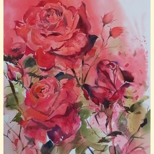 The Fragrance by Ashis Manna, Impressionism Painting, Watercolor on Paper, Pink color
