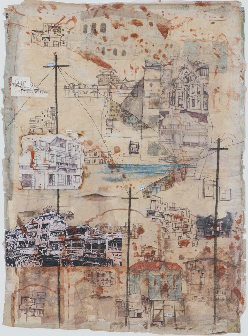 Untitled by Monika Thesiya, Expressionism Painting, Mixed Media on Paper, Beige color