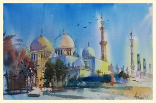 The Sublime Prayer by Ashis Manna, Impressionism Painting, Watercolor on Paper, Cyan color