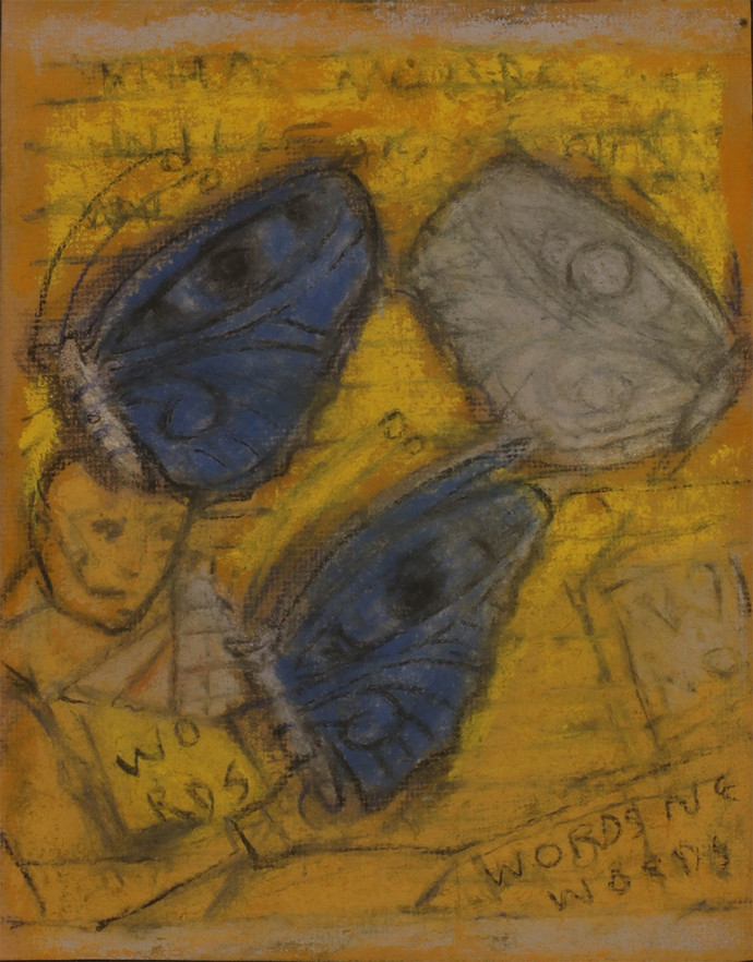Untitled by C Douglas, Abstract Drawing, Mixed Media on Paper, Brown color