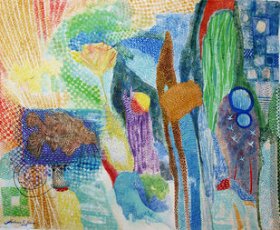 Magic quilt 1 by Archana Rajguru, Abstract Painting, Water Based Medium on Paper, Green color