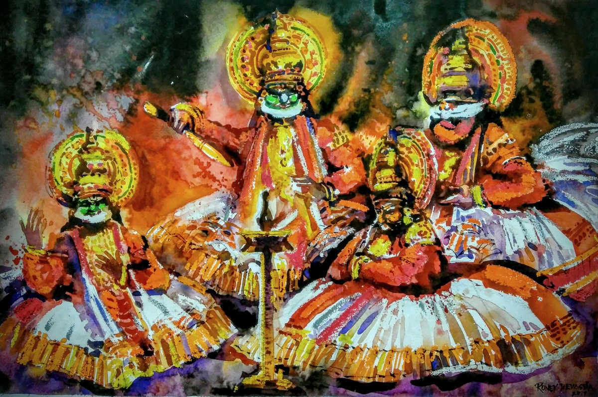 Kathakali series3 by Roney Devassia, Expressionism Painting, Watercolor on Paper, Brown color
