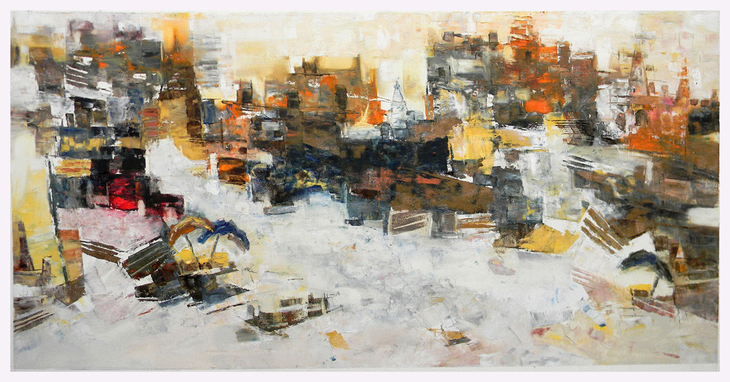 Banaras 8- 2014 by Anand Narain, Expressionism Painting, Oil on Canvas, Beige color
