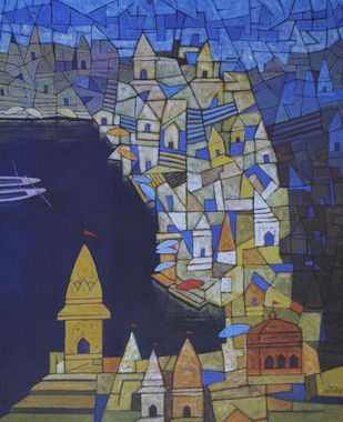 Untitled by S D Shrotriya, Geometrical Serigraph, Serigraph on Paper, Blue color