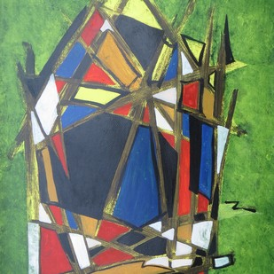 Trekkers hut by Soumya Chakraborty, Abstract Painting, Acrylic on Paper, Green color