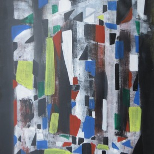 an almira by Soumya Chakraborty, Abstract Painting, Acrylic on Paper, Green color