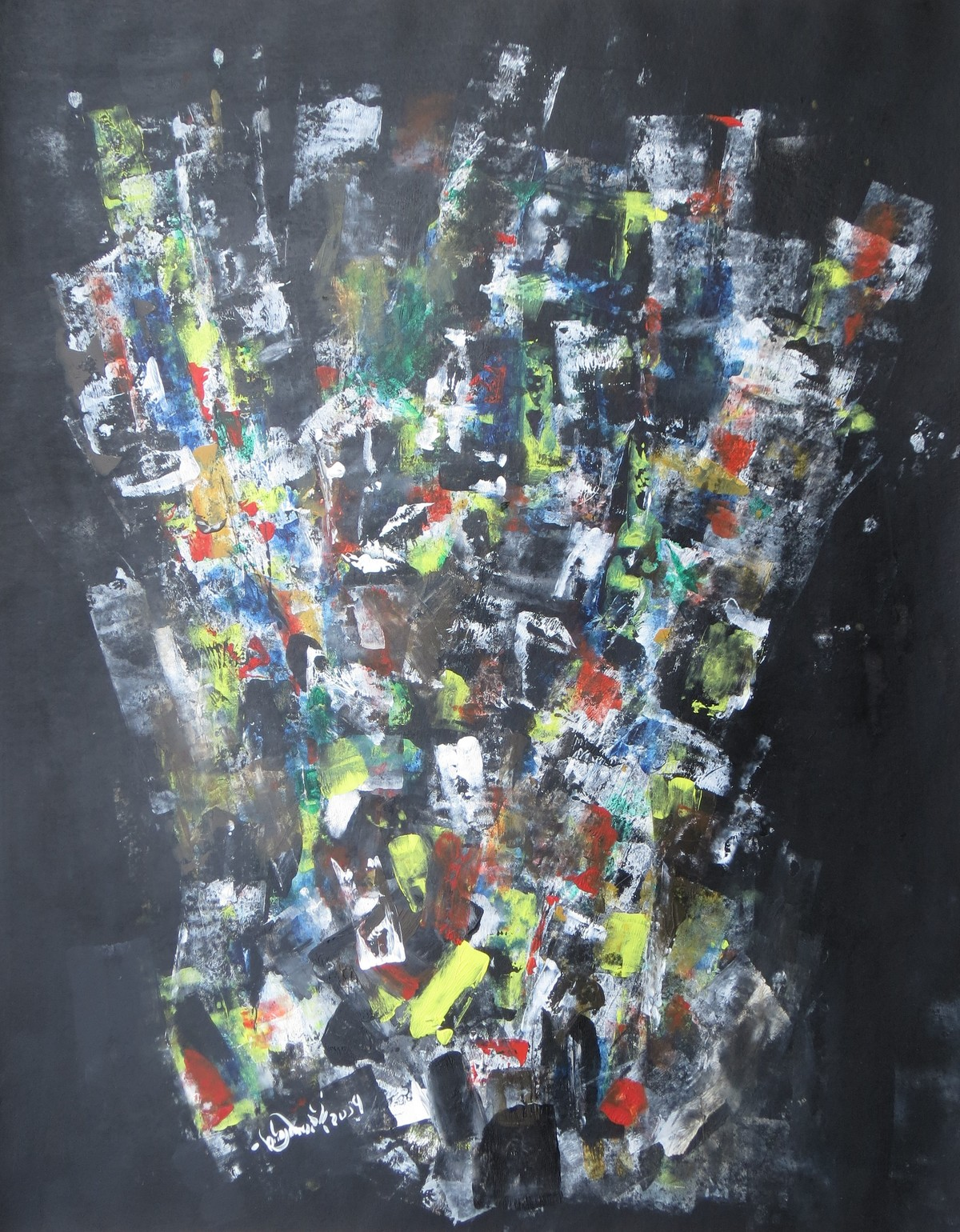The Crown by Soumya Chakraborty, Abstract Painting, Acrylic on Paper, Green color