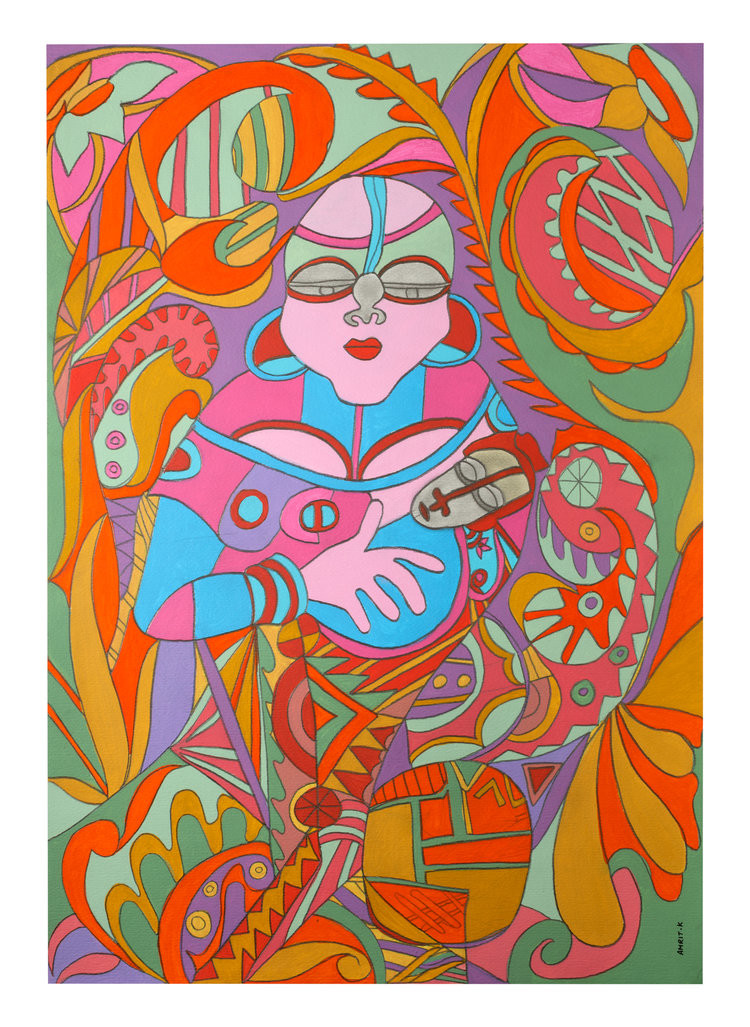 The Womb-Mother and Child by Amrit Khurana, Expressionism Painting, Acrylic on Canvas, Brown color