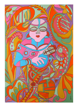The Womb-Mother and Child Digital Print by Amrit Khurana,Expressionism