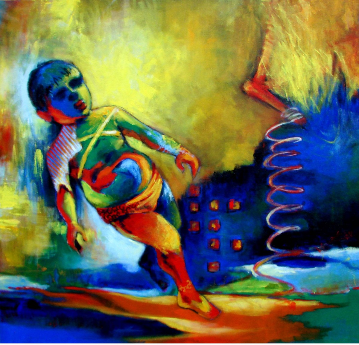 childhood memories by Rajesh Shah, Expressionism Painting, Acrylic on Canvas, Green color
