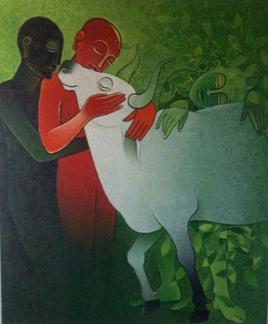 UNTITLED by Ashok Parate, Expressionism Painting, Acrylic on Canvas, Green color