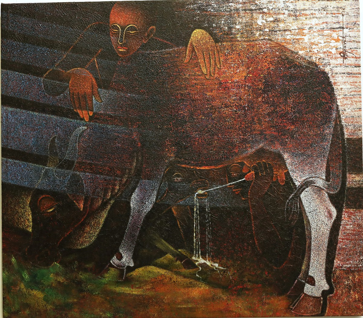 UNTITLED by Ashok Parate, Expressionism Painting, Mixed Media on Canvas, Brown color